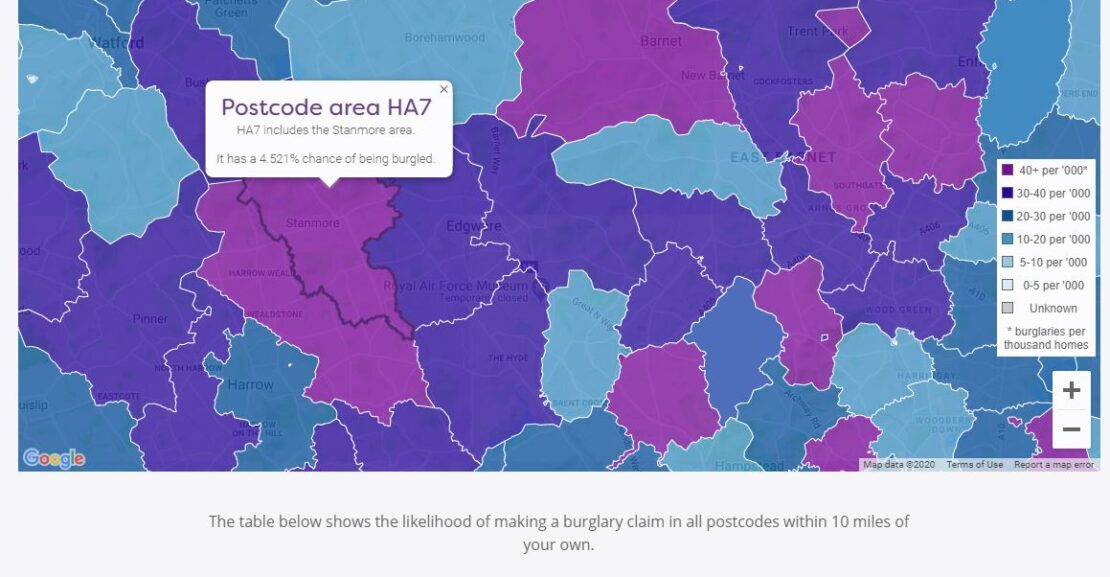 Your postcode ranks as the 2nd most likely to be burgled out of 48